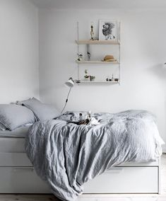 Brimmes bed Stylish small studio - via Coco Lapine Design Ikea Small Bedroom, Home Bedroom, Modern Bedroom, Bedroom Decor, Scandi Bedroom, Bedroom Storage, Bedrooms, Grey Bedding, Small Space Living
