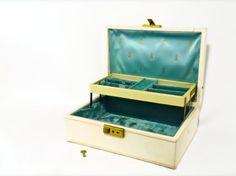 Vintage Beige and Tiffany Blue Aqua Turquoise Mele Jewelry Box Storage Organizer with Key. $23.50, via Etsy.