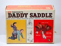 """A funny, strange and weird toy: The """"Daddy Saddle"""". Maybe letting your kids ride you all day may make people think you're a bit odd. Tennessee Williams, Creepy Toys, Weird Toys, Parenting Fail, Friday Humor, Awkward Moments, Wtf Moments, Vintage Advertisements, Vintage Ads"""