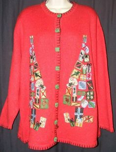 "$25.99 + Free Shipping.   Victoria Jones Dark Red Christmas Presents Tree Cardigan Sweater 1X? 52"" Bust"