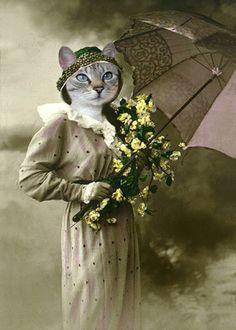 Paris Vintage Cat 5x7 Print Anthropomorphic by AnimalFancy
