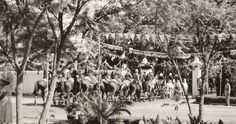 Troops marching out through the gate of Lahore Governor House, 1936.