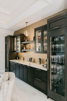 Brilliantly Designed New Build - Grabill Cabinets Modern Home Bar Designs, Wet Bar Designs, Built In Bar Cabinet, Home Cocktail Bar, Basement Bar Designs, Basement Bars, Home Wine Bar, Home Bar Rooms, Game Room Bar
