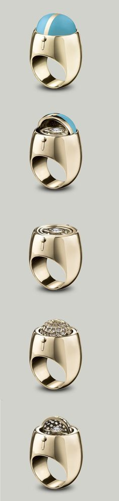 Solange Azagury-Partridge Secret Diamond ring An enamel dome swivels to reveal a brilliant cut Diamond sitting in a pavé Diamond set cup in 18ct yellow gold