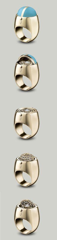 Solange Azagury-Partridge Secret Diamond ring An enamel dome swivels to reveal a…