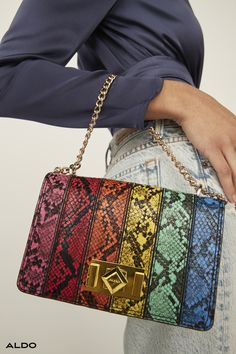 Make a statement with Aldo Shoes new handbag collection. Shop the assortment of crossbody bags, totes and mini purses to fit your everyday needs. Classic Leather Jacket, Leather Boots, Concert Looks, New Handbags, Mini Purse, Aldo Shoes, Snake Print, Fashion Bags, Purses And Bags