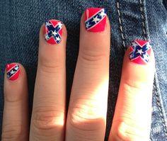 Pink, blue & white rebel flag nails.