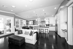 modern white kitchens with dark wood floors - Google Search