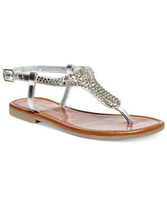 Madden Girl Ripplle Flat Thong Sandals in blue and gold for $49 from Macy's