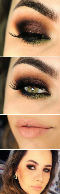 Burgundy, brown, and dark green eye shadow.