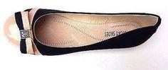 New Women's Flat Black/Beige Slip On Ballerinas Casual Pumps Shoes