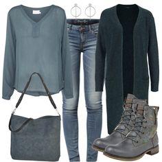 Bei diesem lässigen Freizeit Outfit kombinierst du eine tolle Tunika zu einer Only Skinny Jeans und einem langen Cardigan von Vero Moda. Stiefeletten zum Schnüren und weitere farblich passende Accessoires runden das Casual Outfit ab.