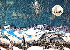 Photograph of the finished Christmas Village backdrop, with mountains, moon and Santa cut-out
