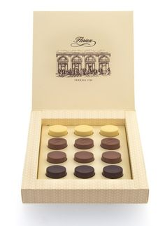 Florian pralines chocolate Let yourself be tempted by the luscious velvety blend of the Florian Chocolate Pralines in their elegant box.  The finest ingredients tickle the palate with its four different flavours: the richness of coffee and the delicacy of the authentic creamy smooth Piemontese hazelnut merge with the traditional extra fine milk chocolate, the strawberries combine with the white chocolate and the power of orange mix with the extra fine dark chocolate.  96 gr - 3,3 oz