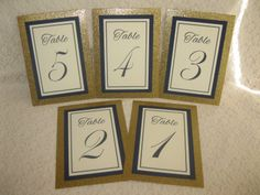 Gold Glitter Navy Blue & Ivory Wedding Table by WeddingSparkles, $25.00