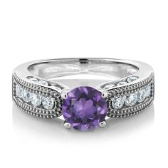 Natural Purple Amethyst, Wedding Band, Sterling Silver Ring. staceybo.com