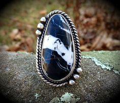 White Buffalo Turquoise Ring / Artisan by SilverRavenStudio