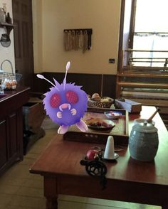 Someone alert pest control! A venonat was spotted in the Henry Kitchen! Does #CCI have a note for this? #museumlife #oshawa #pokemongo #catchemall #oshawamuseum #conservation