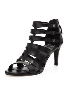 Outbound Strappy Leather Mid-Heel Sandal, Black by Stuart Weitzman at Neiman Marcus.