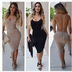 9abb74bb71c Cheap Sexy Spaghetti Strap Sleeveless Backless Tied Black Blending Sheath  Knee Length Dress_Dresses_Womens Clothing_LovelyWholesale | Wholesale