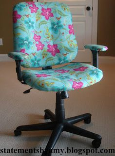 Cover up an old/cheap office chair with fabric. Might be easier than trying to find a chair I actually like.