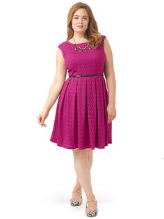 London Times Full Skirt Dress in Magenta Fit And Flare Eyelet Plus Size 14W #LondonTimes