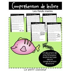Compréhension de lecture - Les fonds marins Document, Cycle, Teaching, French, Reading Comprehension, Nautical Background, Binder, Sailors, Note Cards
