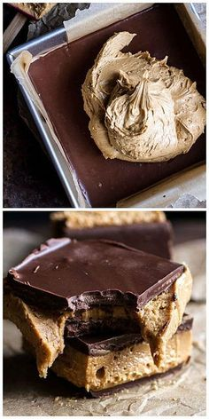 5-Ingredient Triple Decker Chocolate Peanut Butter Bars recipe via Half Baked Harvest. Just Desserts, Delicious Desserts, Dessert Recipes, Yummy Food, Bar Recipes, Protein Recipes, Fudge Recipes, Cream Recipes, Candy Recipes