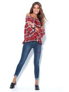 Pantalón vaquero de mujer con parches y aplicaciones Jeans Store, Plaid, Denim, Shirts, Tops, Women, Fashion, Latest Fashion, Shopping