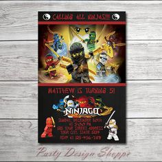 Ninjago Birthday Party Invitation, Printable File  This listing is for digital invitation file personalized with your party details. You will receive a printable file via the email associated with your Etsy account. No physical items will be shipped. You will be responsible for the printing of your items.  WHAT YOU WILL GET:  Personalized ready for print file. You will receive one JPEG ready for print file. PDF with two invitations per page is available upon request.  SIZES:  4x6 in or 5x7…