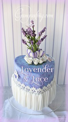 {Gumpaste Lavender Flowers On Heart-Shaped Lace Cake}