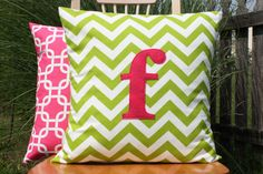 Love!!!!  Pink and green nursery!!!  Monogrammed Chartreuse Chevron Pillow Cover  Hot by nest2impress,