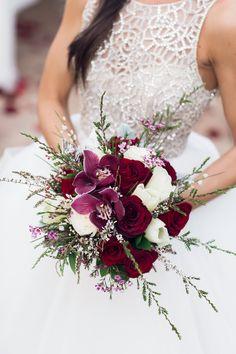 Burgundy & White Wedding Bouquet  Lush Burgundy Hued Wedding Inspiration at The Landmark Photographer: Ivonne Carlton Photography