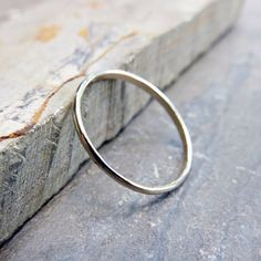 1.2mm Thin White Gold Wedding Band Promise Ring  by Brightsmith