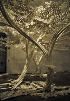 Tom Price has made an enchanted grove of cherry trees out of plastic tubes and cable ties.