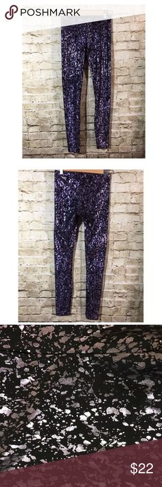 "American Apparel Splatter Metallic Black Legging Name Brand: American Apparel Condition: Pre Owned, Excellent Condition used once, No flaws to note  Size: M (see measurements)  Color: Black Lavender Metallic   Style: Legging  Always check the measurements, label sizes are not consistent.   Measurements are approx and are of item laying flat and unstreched: Waist: 12.5"" Rise: 10"" Inseam: 28"" Length: 35.5"" American Apparel Pants Leggings"
