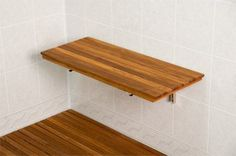 """Amazon.com - Teak Wall Mount Fold Down Shower Bench/Seat (30"""" x 12.5"""") - Shower And Bath Safety Seating And Transfer Products"""