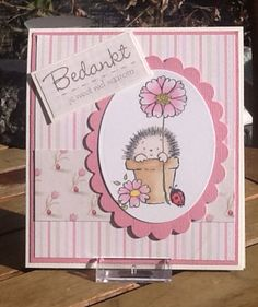 Beautiful pink card with my favourite Penny Black image