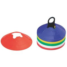 Plastic dome shaped cones in a variety of bright colours. With a concave cut to fit diameter poles.