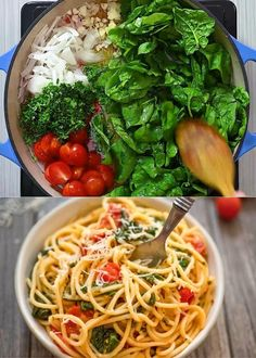 Quick Dinner Recipes, Vegetarian Recipes Easy, Quick Meals, Cooking Recipes, Healthy Recipes, Easy Dinners, Spinach Pasta, One Pot Pasta, One Pot Meals