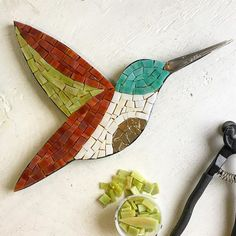 It feels so good to sit down and just create...what's my go-to? Birds of course! #birdlover #hummingbird #fallcolors #upcycledfork #mosaic #mosaicart #mosaicbird