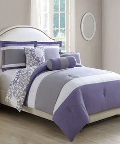 Another great find on #zulily! Lavender & Gray Milan Reversible Six-Piece Comforter Set #zulilyfinds