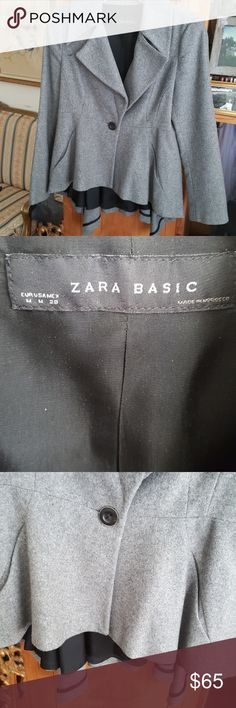 Zara Basic Blazer Grey 1 button lined soft wool/poly blend... Lightweight... Hi/Low... Fitted with draping in back... Similar to a Dressage style.. Great Condition... Never worn Zara Basic Jackets & Coats Blazers