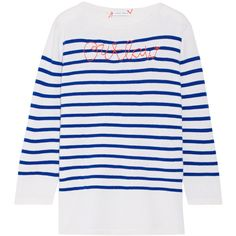 Lingua Franca Outlaw embroidered striped cashmere sweater (€340) ❤ liked on Polyvore featuring tops, sweaters, breton shirt, striped sweater, wool cashmere sweater, cashmere sweater and stripe cashmere sweater