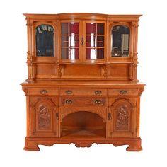 ~ Massive Renaissance Revival Oak Buffet Cabinet ~ liveauctioneers.com