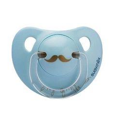 Suavinex Fopspeen Anatomisch Latex  6 maand Moustache blauw  - Blabloom