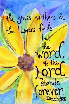 Isaiah 40:8 The Word of the Lord Stands Forever Illustrated Watercolor Prints