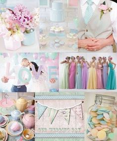 Pastel wedding theme like the idea diff style and colour bridesmaids dresses