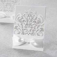 Wedding Invitations - Classy Laser Cut with White Bow | B Wedding Invitations