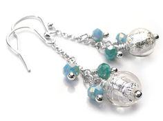 Murano Glass Bella Earrings - Crystal Aqua